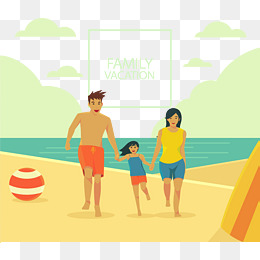 Happy family vacation, Vector Material, Vacation, Seaside Vacation PNG and  Vector - Family Vacation PNG