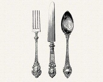 Antique Silverware - Knife, Fork, Spoon Cutlery- Printable Vintage Digital  ClipArt Separate PNG Files - Fancy Fork PNG Black And White