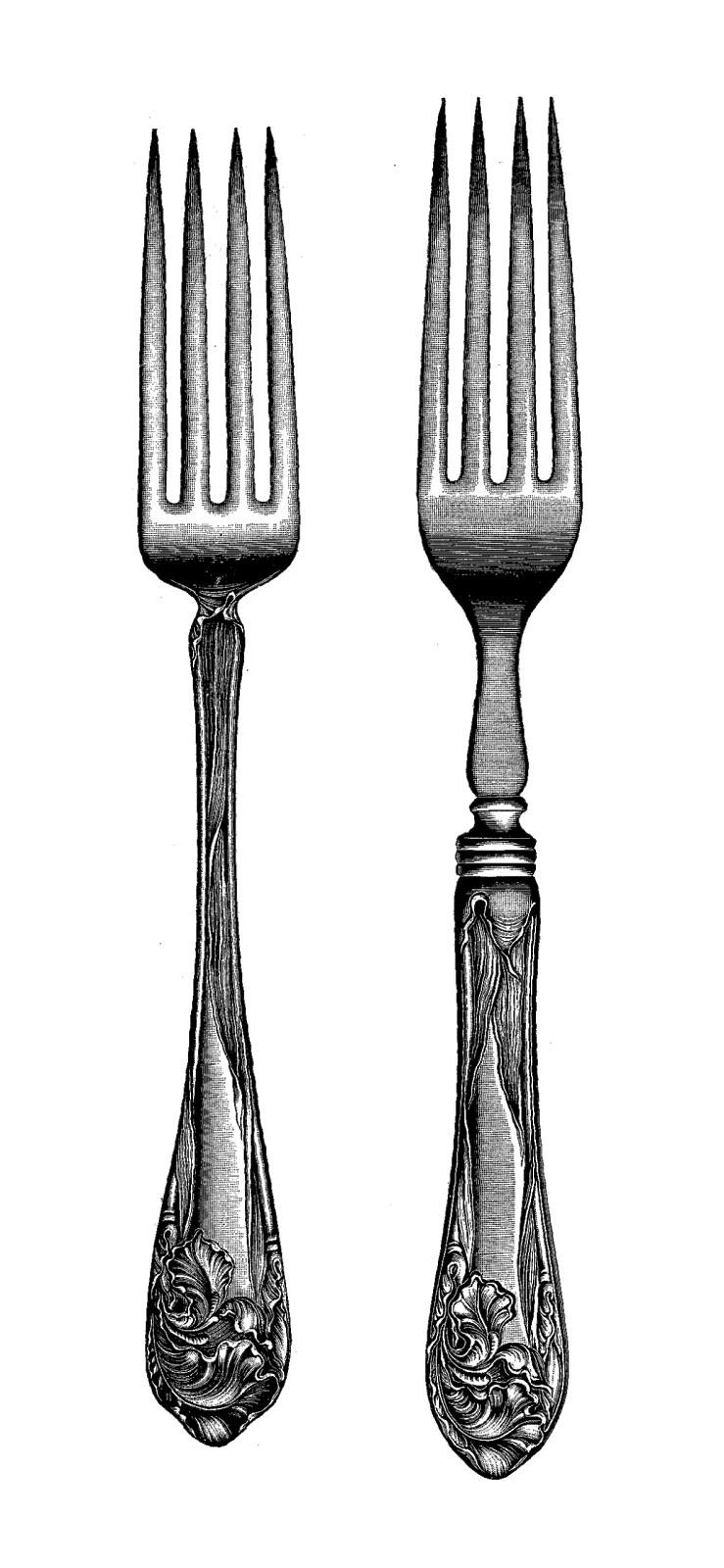 These Are Two Vintage Fork Digital Stamps From A 1913 Hardware Catalog. I  Love The Fancy, Decorative Handles! Theyu0027re So Elegant. - Fancy Fork PNG Black And White
