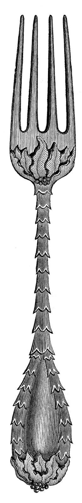 Vintage Clip Art U2013 Fancy Utensils U2013 Fork Spoon Knife - Fancy Fork PNG Black And White