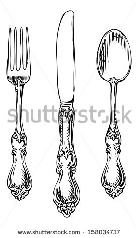Vintage spoon, fork and knife. - Fancy Fork PNG Black And White