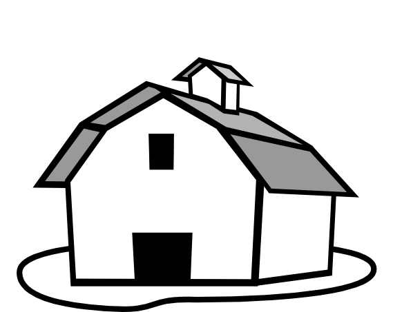 Farm House Cblack And White Clipart - Farm Fields PNG Black And White