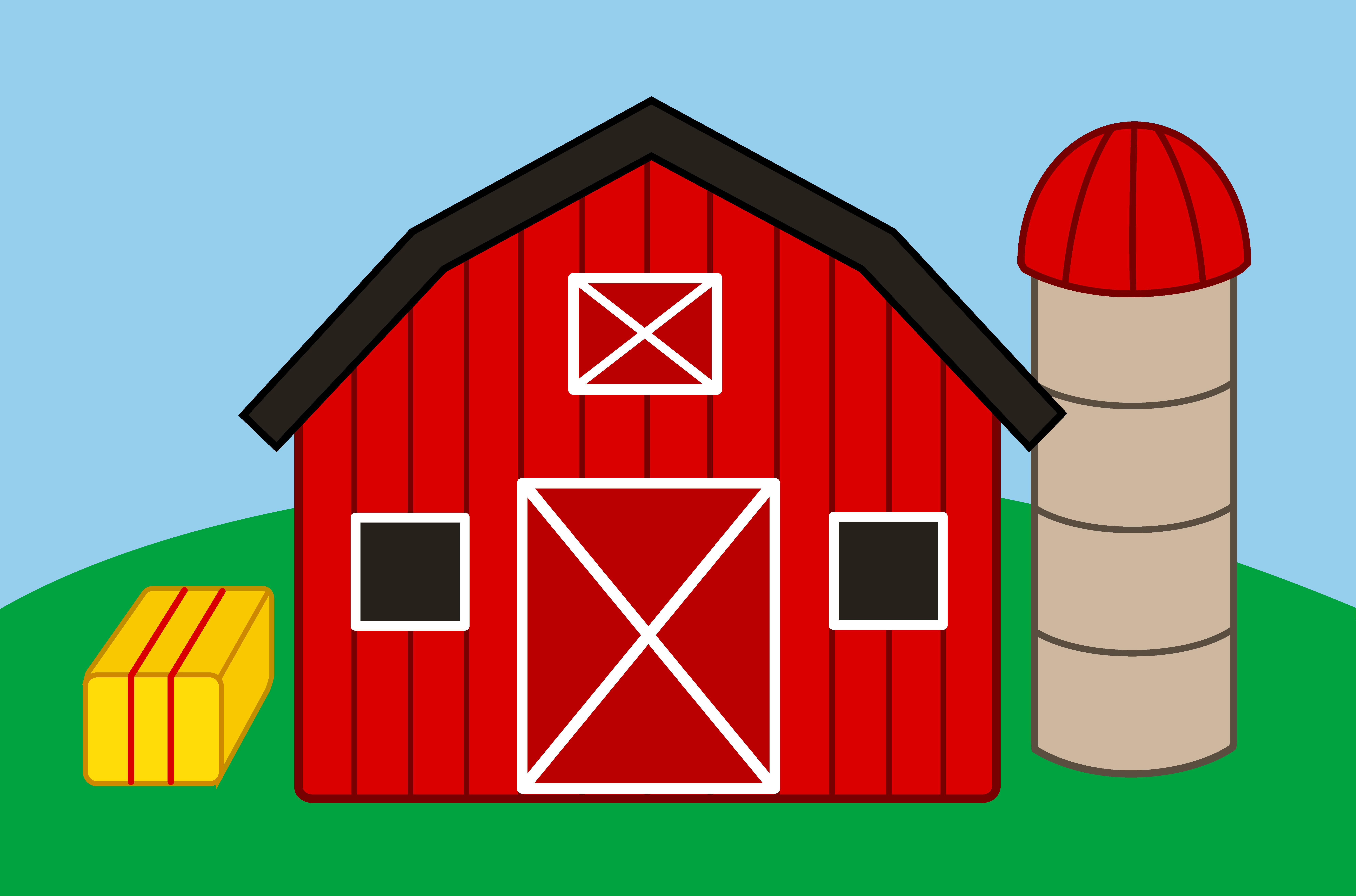 Cute Farm With Barn and Silo - Free Clip Art - Farm House PNG HD