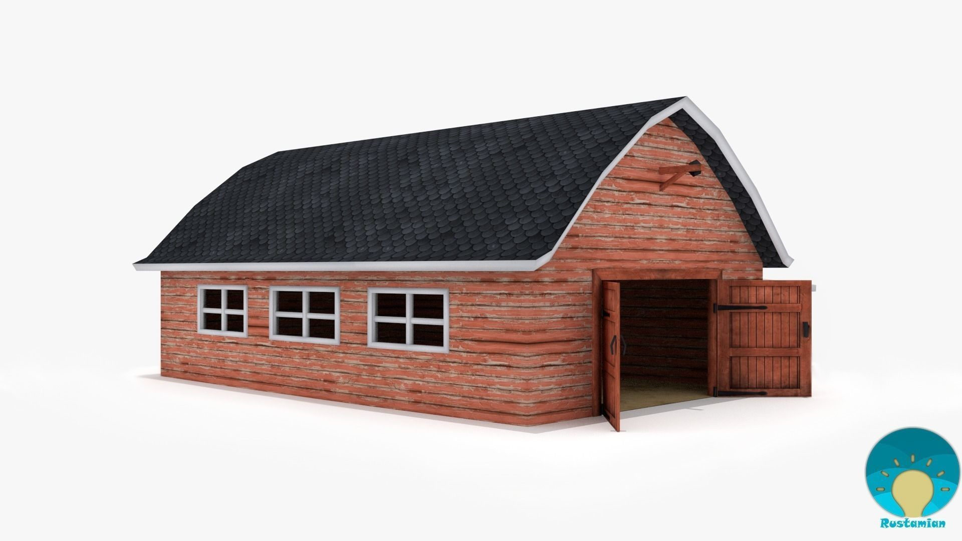 farm house 3d model low-poly