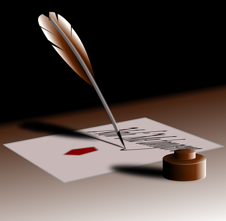 Quill, Pen, Write, Author, Ink, Feather, Paper, Old - Feather Pen And Paper PNG