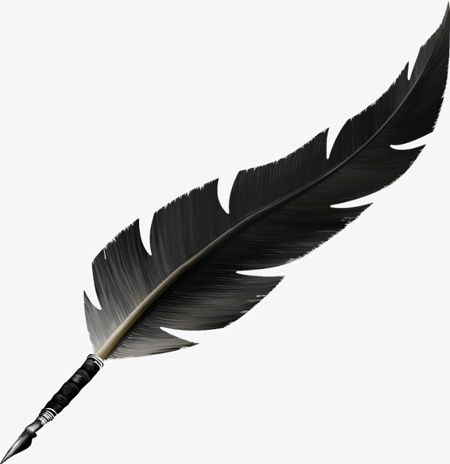 Feather Pen, Feather, Black, Hand Painted PNG Image And Clipart - Feather Pen PNG Black And White