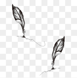 Hand Painted Quill Pen, Hand Painted, Creative, Black And White PNG And PSD - Feather Pen PNG Black And White