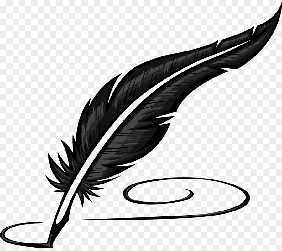Paper Quill Pen Inkwell Clip Art - Nonfiction Writing Cliparts - Feather Pen PNG Black And White