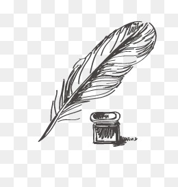 Quill, Quill, Ink, Retro Pen PNG And Vector - Feather Pen PNG Black And White