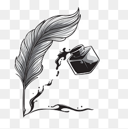 Vector Quill Pen, Ink, Decoration, Write PNG And Vector - Feather Pen PNG Black And White