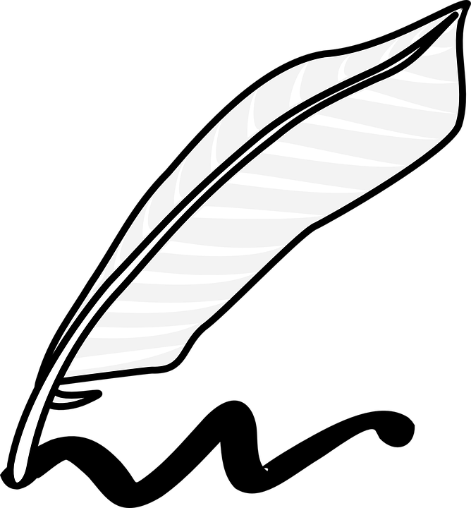 Writing Literature Feather Quill Author Ink Write - Feather Pen PNG Black And White