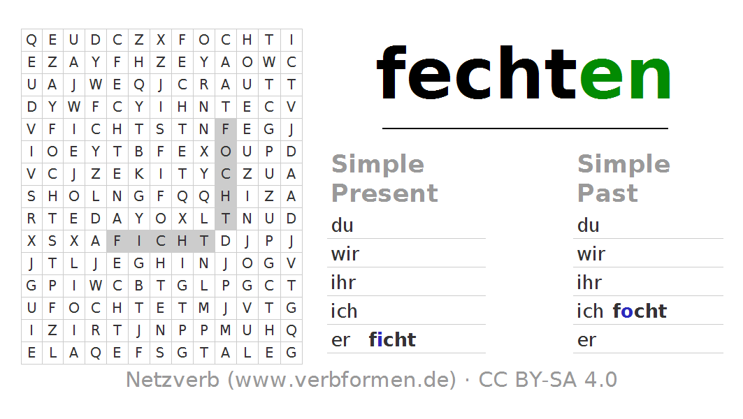 Word search puzzle for the conjugation of the verb fechten. Word search PNG - Fechten PNG