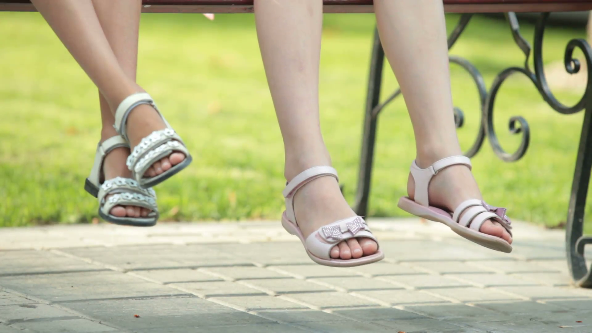 Feet of two little girls sitting on bench wearing sandals in summer Stock  Video Footage - VideoBlocks - Feet PNG HD