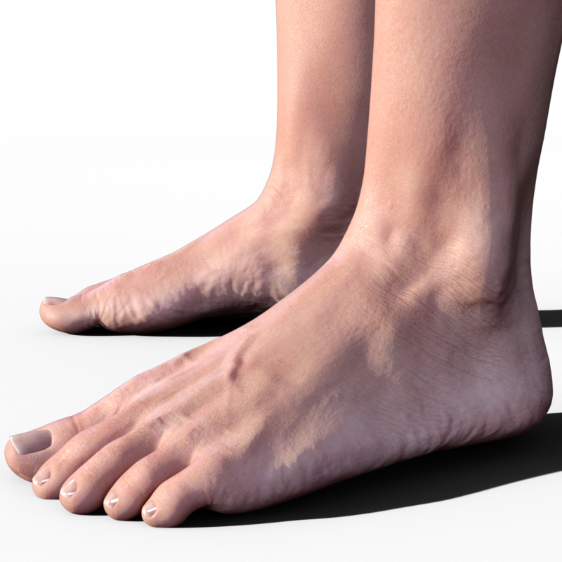 Here are her feet with SubD of 4 and the Base Bump and Normal Map upped to  2: - Feet PNG HD