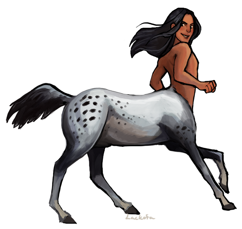 Native American centaurs with Appaloosa and pinto horse bodies. - Female Centaur PNG