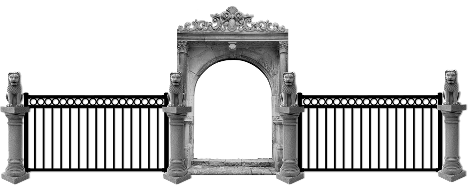 gate fence entrance entry arch columns capitals - Fence HD PNG