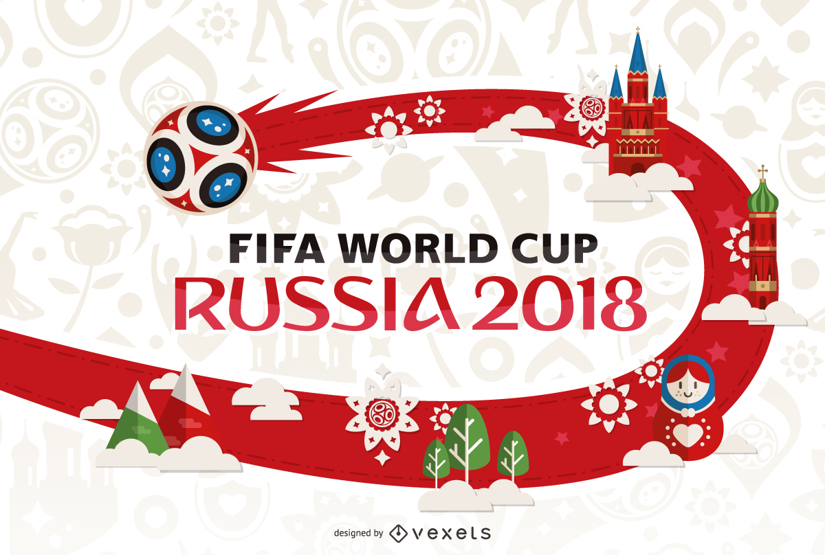 Russia 2018 World Cup poster design - Fifa World Cup 2018 Vector PNG
