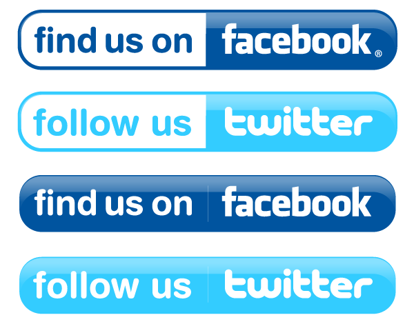Facebook and Twitter Buttons Vector Free Preview - Find Us On Facebook Vector PNG