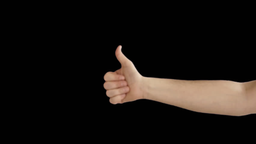 Male hand makes the ok sign with alpha channel - HD stock footage clip - Finger HD PNG