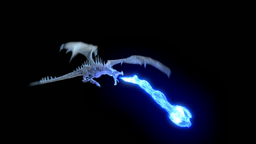 Animated Realistic Ice Dragon Flying And Breathing Blue Flame. High Quality  Seamless Loop With Alpha - Fire Breathing Dragon PNG HD