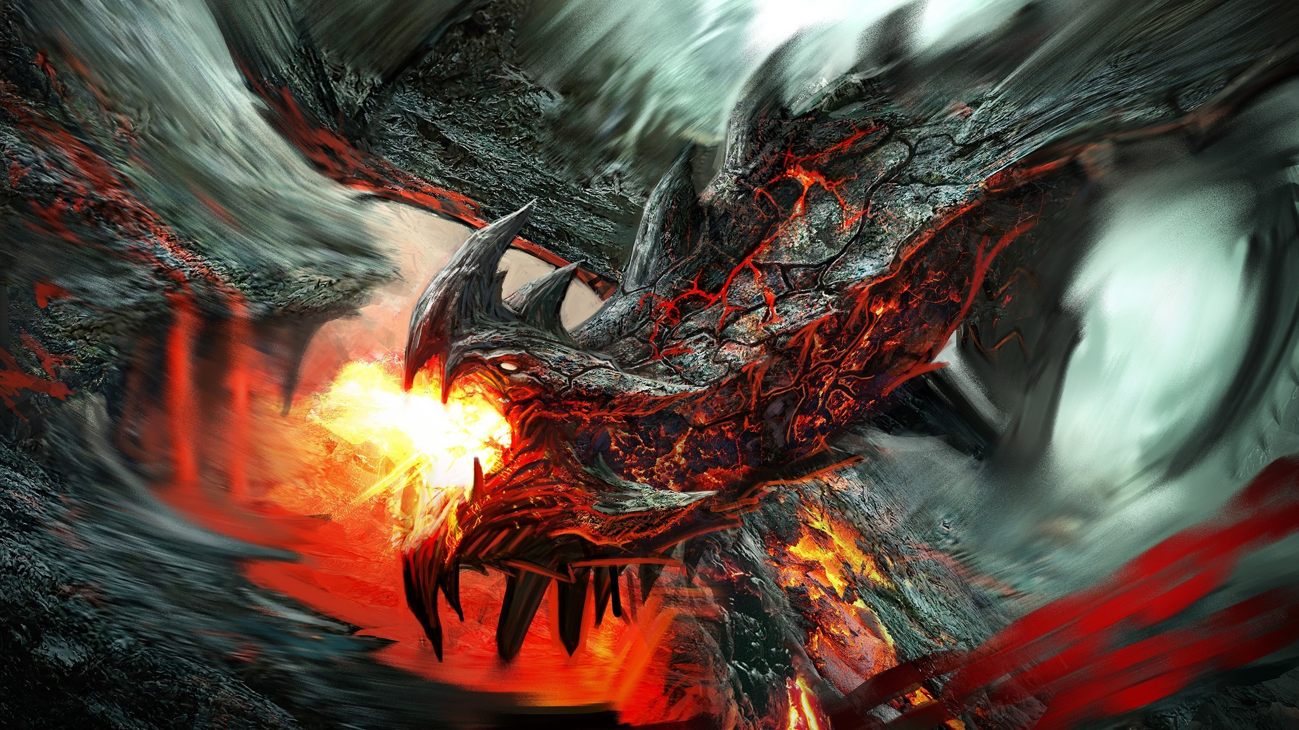 . PlusPng.com Fire Breathing Lava Dragon HD Wallpaper 2560x1440 - Fire Breathing Dragon PNG HD
