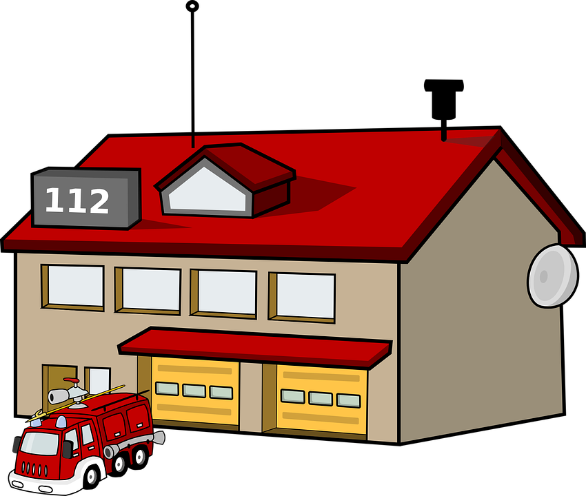 Fire Station House Building Fire Engine Tr - Fire Station PNG HD