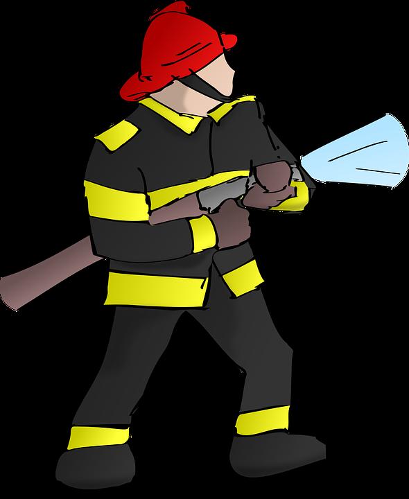 Firefighter, Fire, Fireman, Hose, Rescue, Water, Helmet - Fireman HD PNG