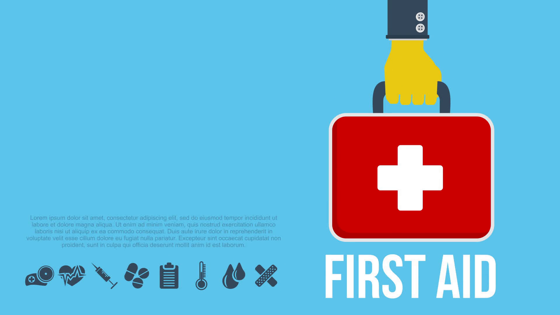 First aid kit concept with hand holding medicine chest with cross and  healthcare icons. Available in 4K FullHD and HD video 2D render footage on  white. - First Aid PNG HD Images