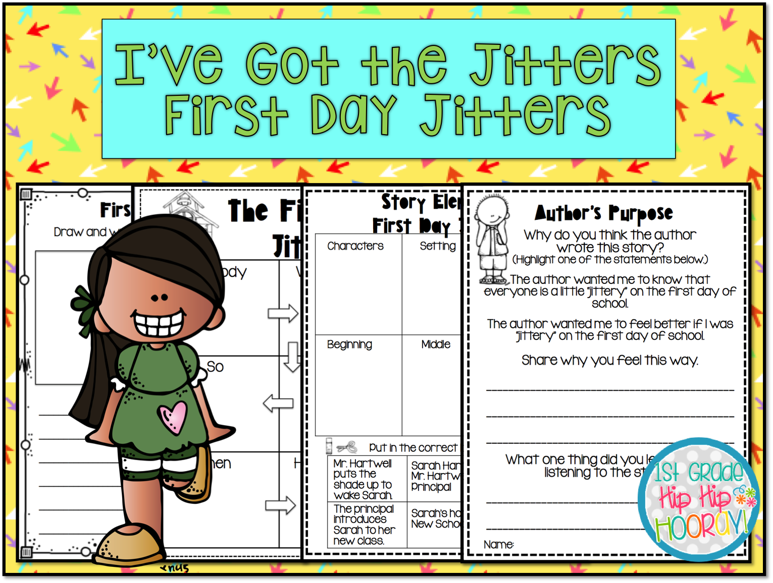 There are writing activities for The First Day of School and a poster to  make. - First Day Jitters PNG