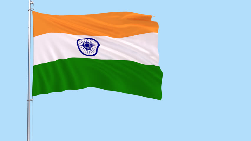 Flag of India on the flagpole fluttering in the wind on a transparent  background, 3d - Flag HD PNG