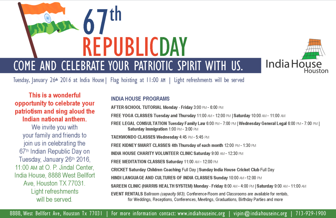 Flag Hoisting 67th Republic Day: Jan. 26 11am at India House - Flag Hoisting PNG