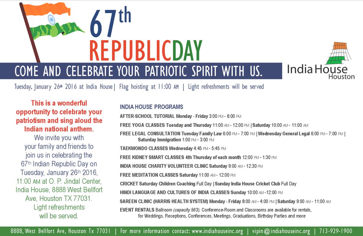 Flag Hoisting 67th Republic Day: Jan. 26 11am At India House - Flag Hoisting PNG