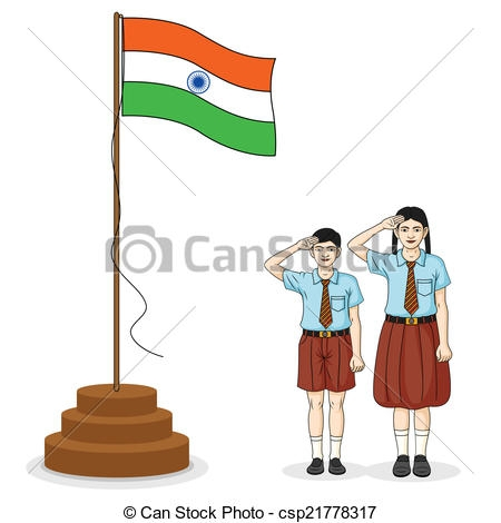 Indian student saluting flag