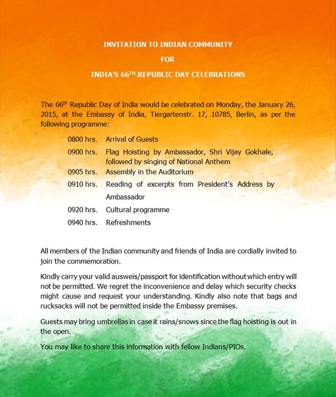 Invitation To Indian Community For Flag-hoisting On Republic Day - Embassy  Of India,Berlin - Germany - Flag Hoisting PNG
