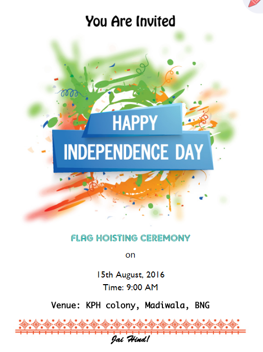 Tri color splash theme flag hoisting invitation | Indian Independence Day  Free E-Cards | Pinterest | Online invitation maker, Invitation cards online  and PlusPng.com  - Flag Hoisting PNG