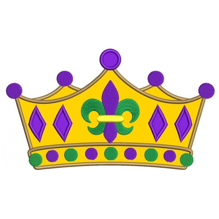 Mardi Gras fleur de lis Crown Applique Machine Embroidery Digitized Design  Pattern - Fleur De Lis Crown PNG