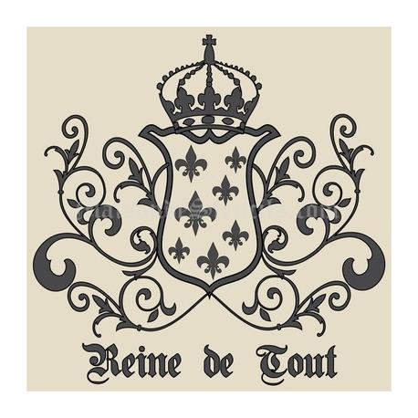 Reine de Tout with Crown and Fleur de Lis Crest 18x18 Stencil - Fleur De Lis Crown PNG