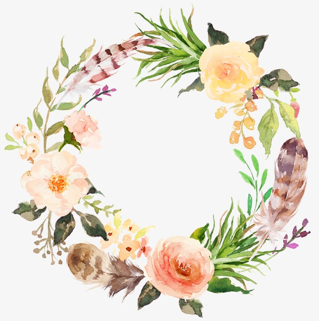 Watercolor aesthetic style floral wreath - Floral PNG