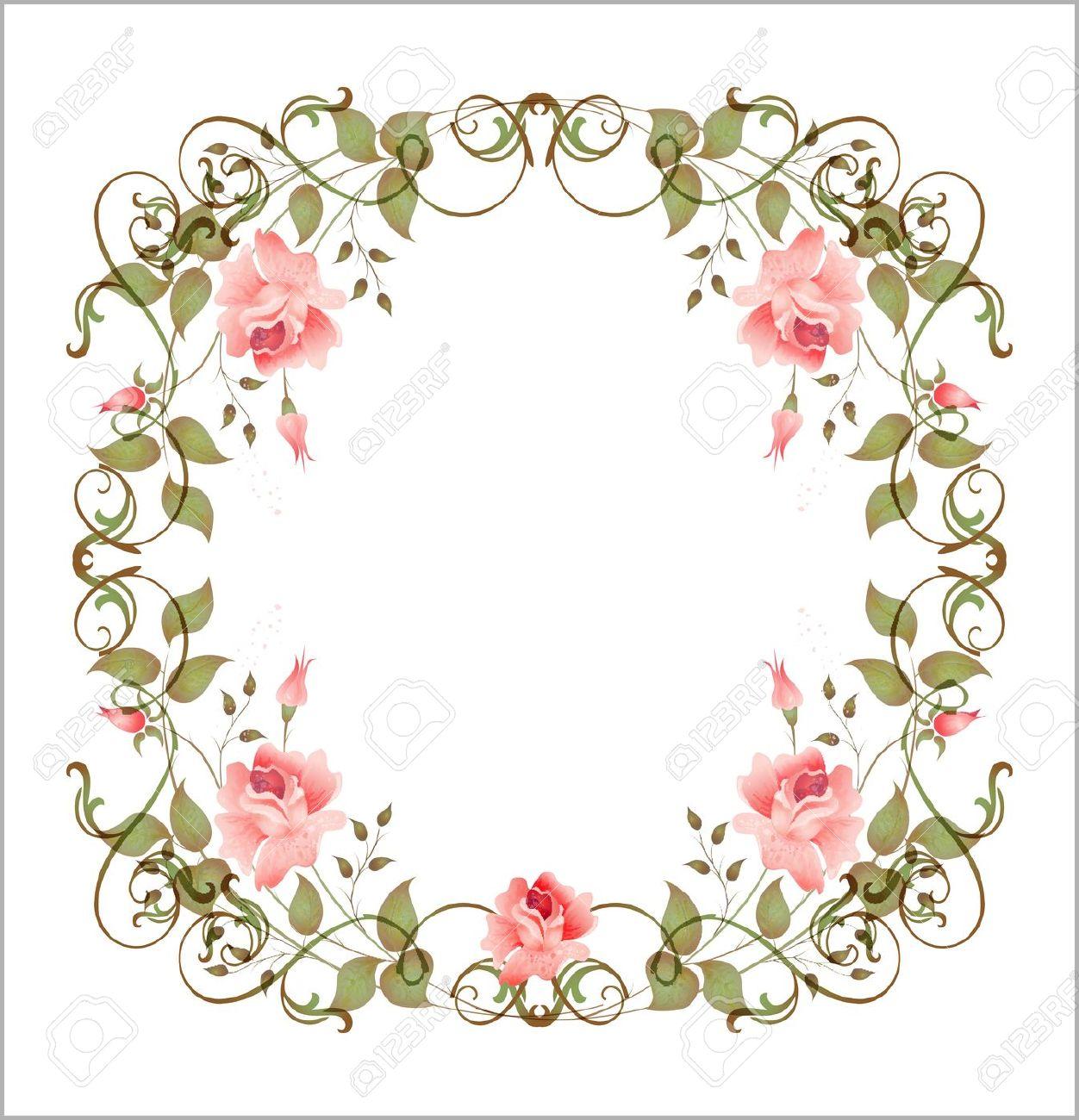 6630293-marco-floral-Vintage-Foto-de-archivo.jpg ( - Flower PNG Jpg