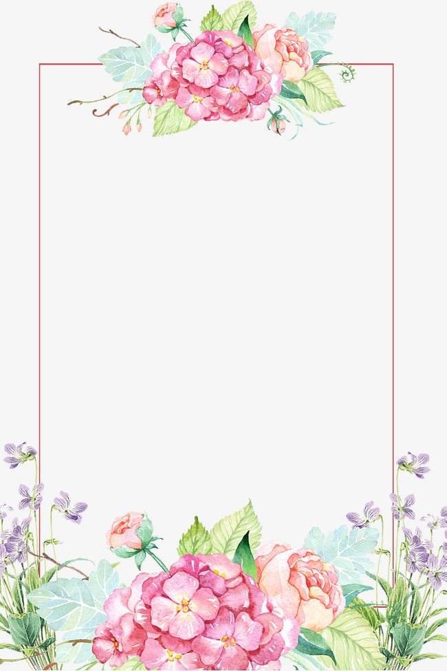 Beautiful flower borders, Flower Borders, Hand-painted Flowers, Flowers PNG  and PSD - Flower PNG Jpg