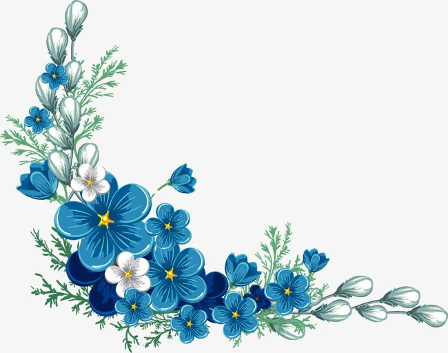 painted blue flower border - Flower PNG Jpg