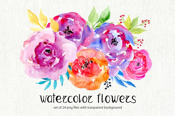 Watercolor Flowers, 24 Png Clipart - Illustrations - Flower PNG Jpg