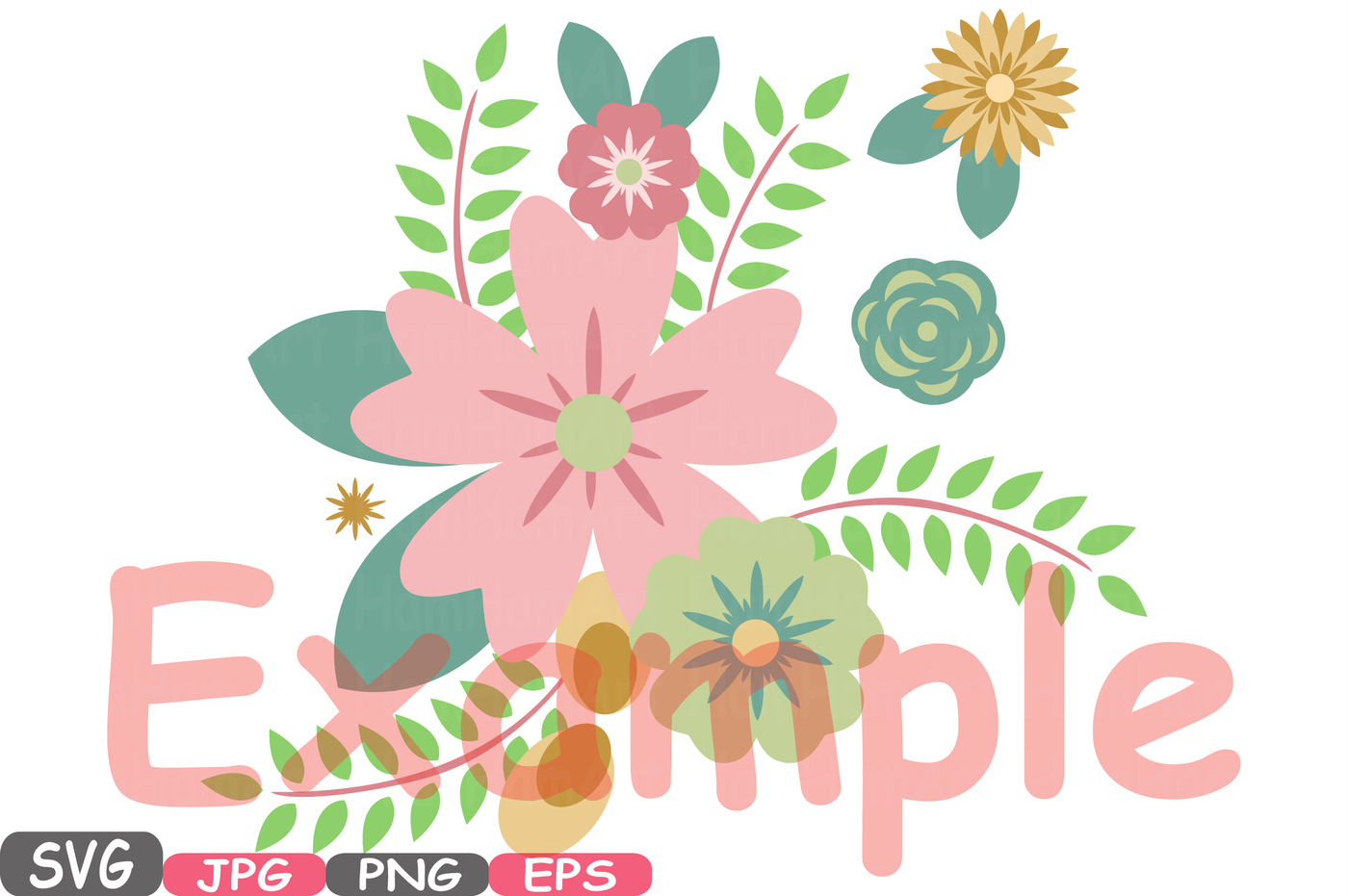Wedding Flowers Vintage Floral Invitation Cutting Files svg eps png jpg  party colorful Clip Art Vector Graphics Clipart -16SV by HamHamArt |  TheHungryJPEG. PlusPng.com  - Flower PNG Jpg