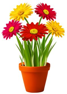 Pin Pot Plant Clipart Red Flower #14 - Flower Pot PNG
