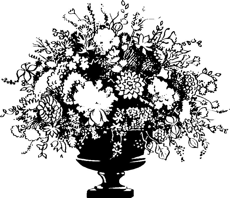Flower Vase Clipart Black And White 6402 - Flower Vase PNG Black And White