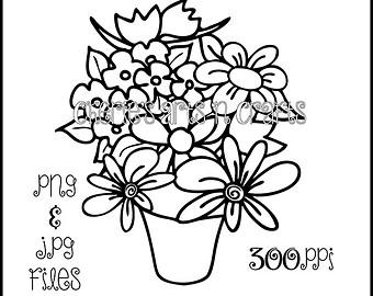 Flower Vase Digi Stamp | PNG and JPG Files | Floral Art | Coloring Page | - Flower Vase PNG Black And White