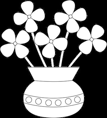 Flower Vase Free Digital Stamp - Flower Vase PNG Black And White