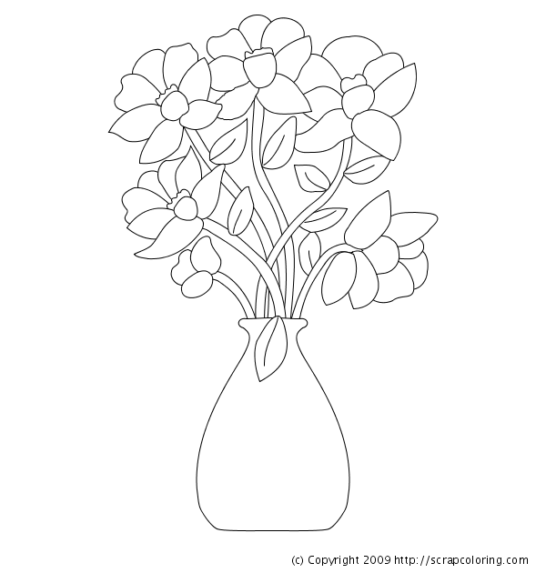 Flowers In Vase - Flower Vase PNG Black And White
