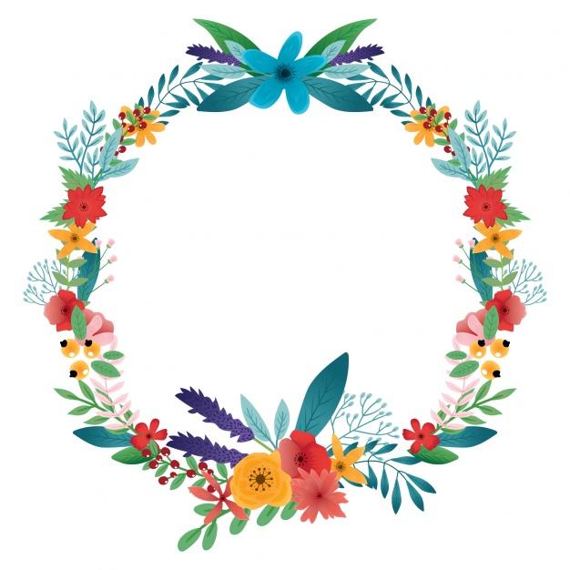 Floral wreath design Free Vec