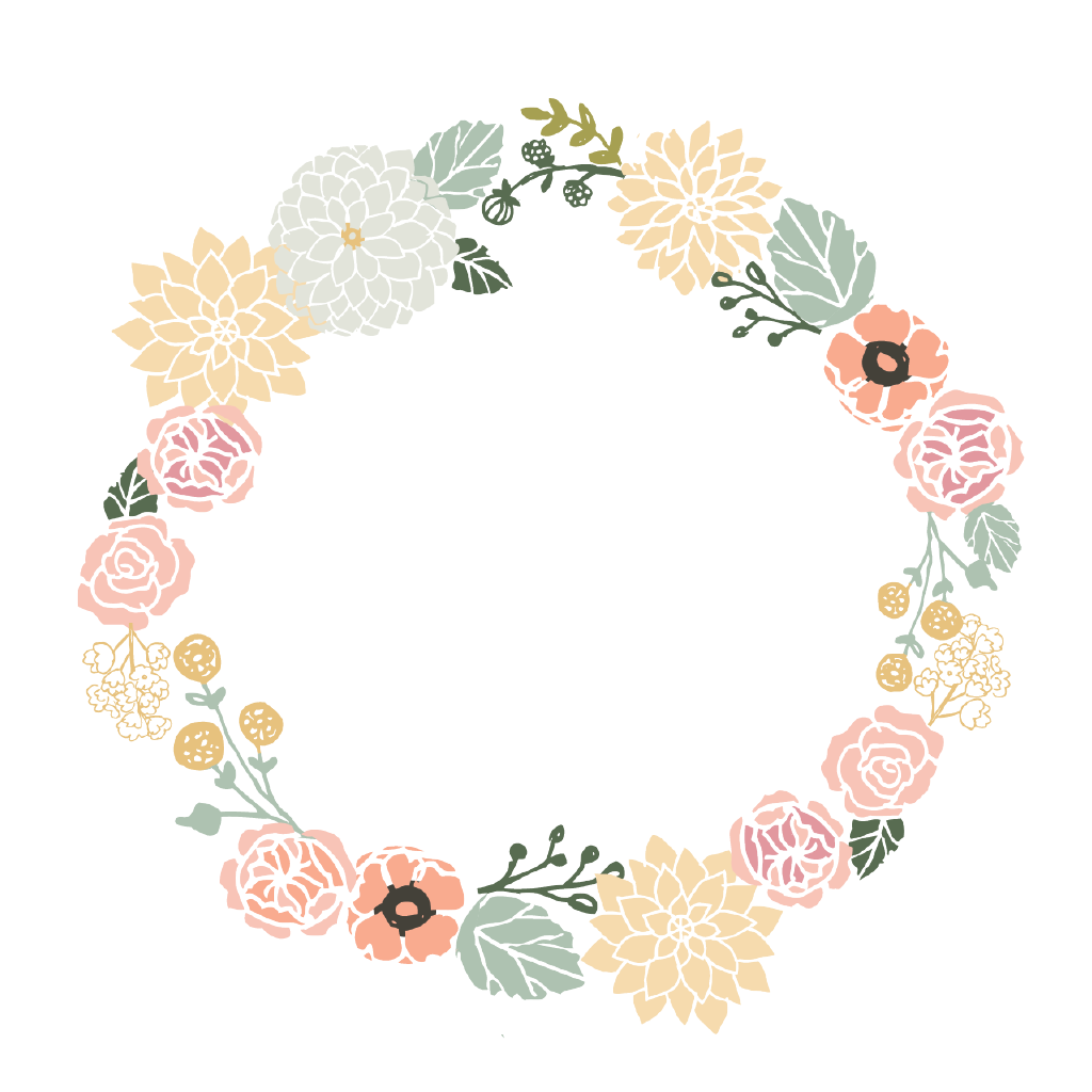 Watercolour Flower wreath wit